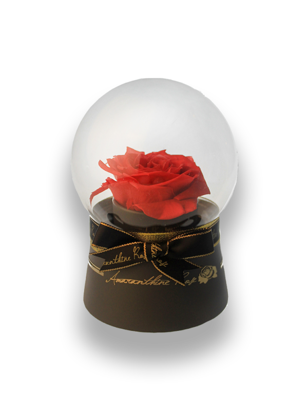 Red Rose Glass Globe